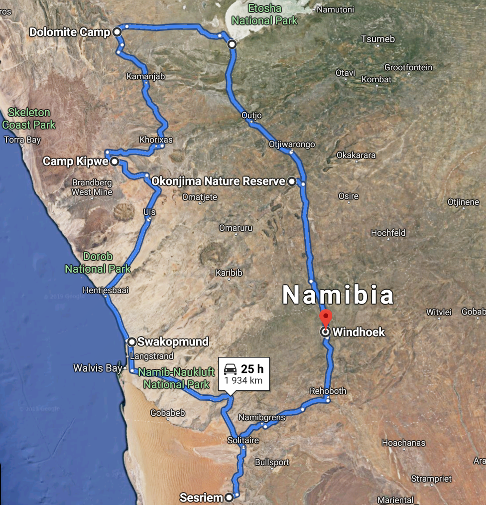 Namibia Route Map