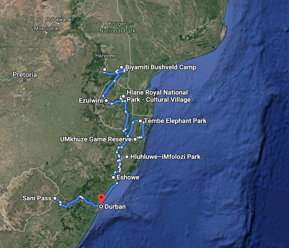 Travel Map Kruger Park, Swaziland & KwaZulu-Natal