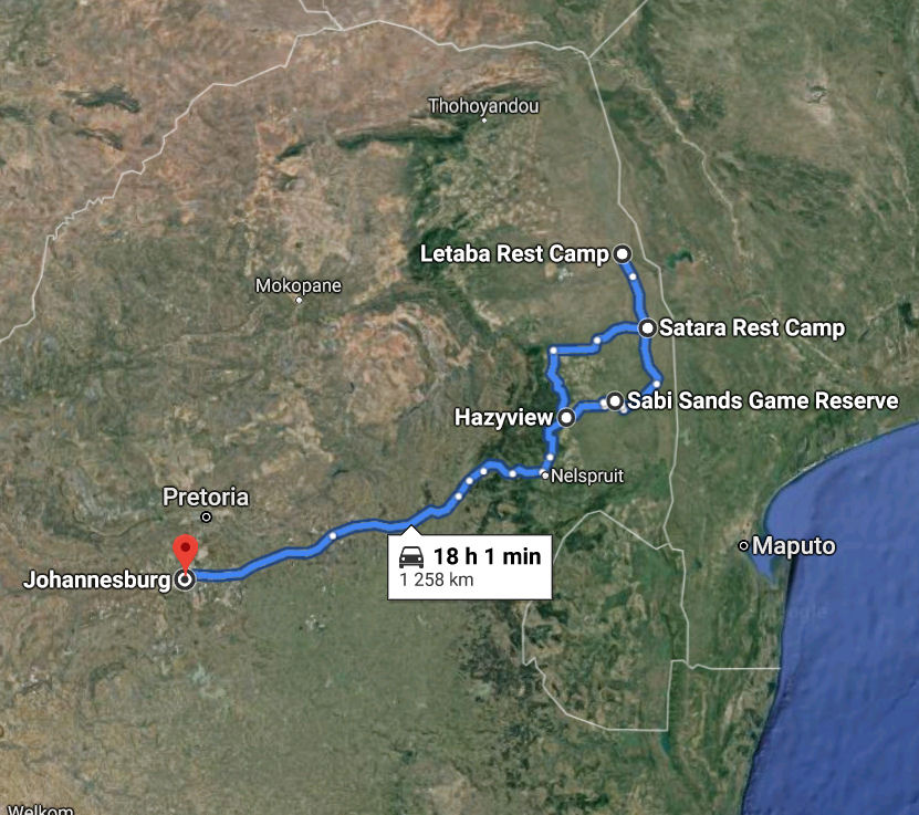 Route Map 6 Days Kruger & Panorama tour