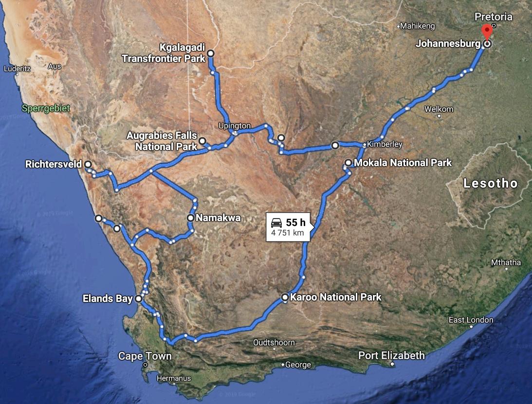 21 Days Northern Cape & Kalahari Route Map
