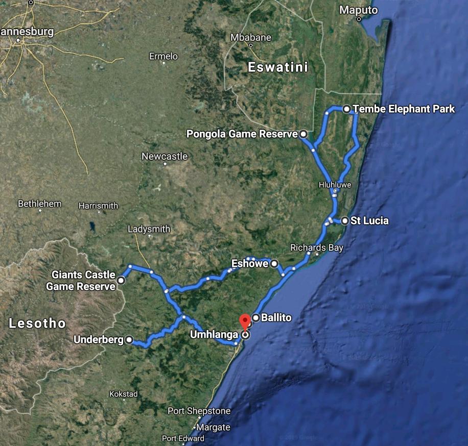 16 Days KwaZulu-Natal & Drakensberg Route Map