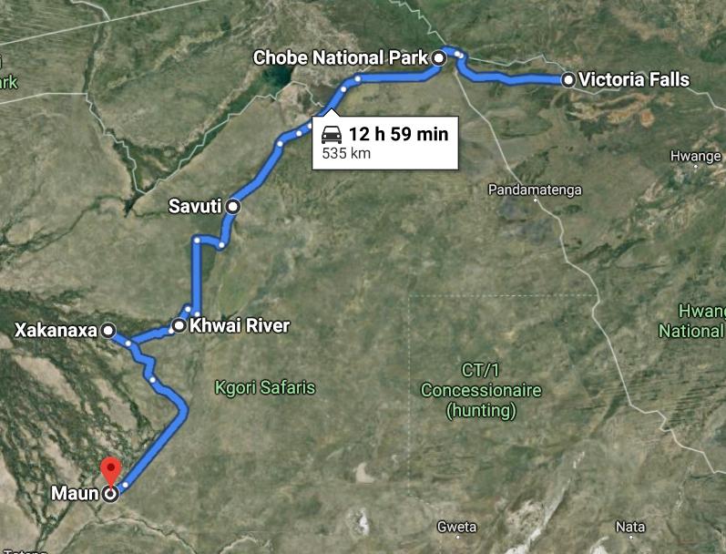12 Days Vic Falls, Chobe & Okavango Delta Route Map